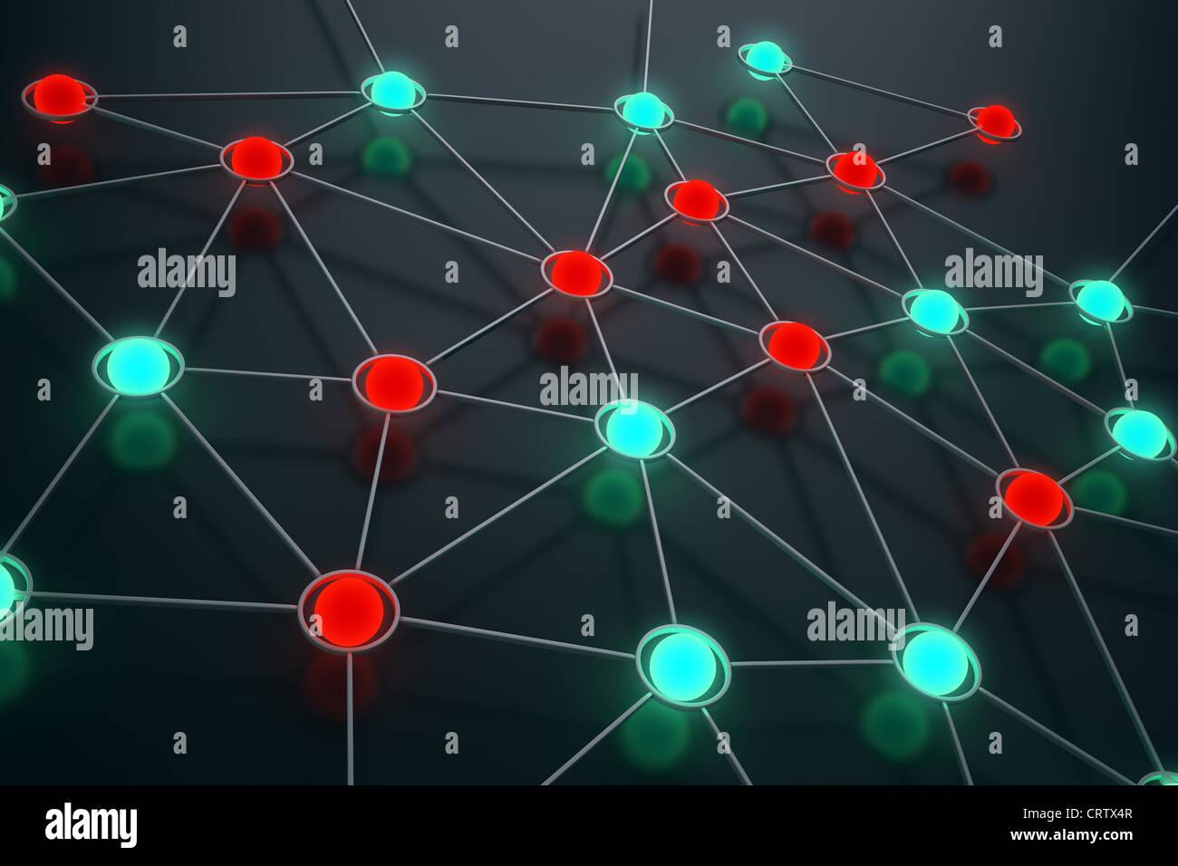 Concept de réseau libre - sphères lumineux Photo Stock