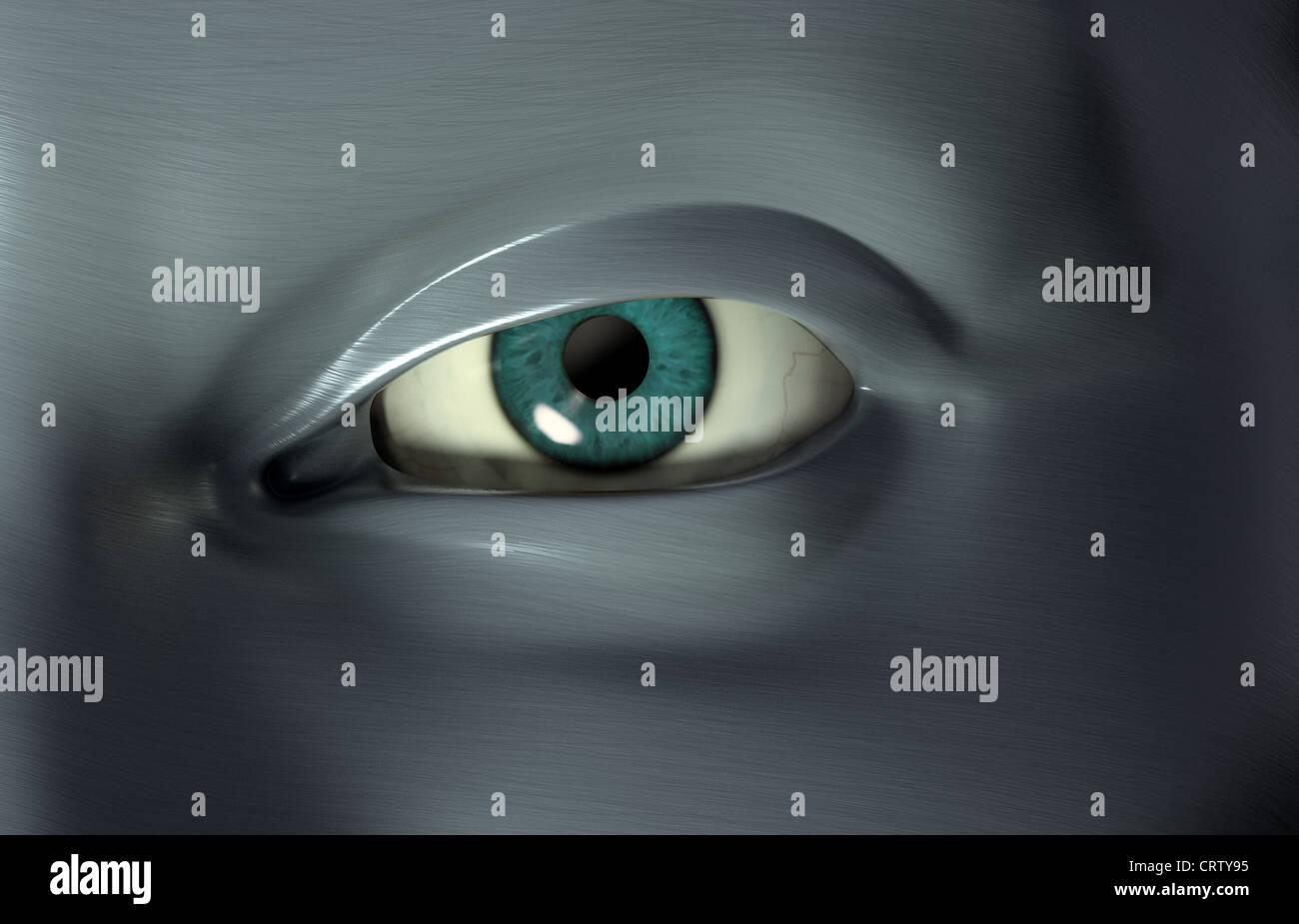 Le rendu 3D d'un oeil close-up Photo Stock