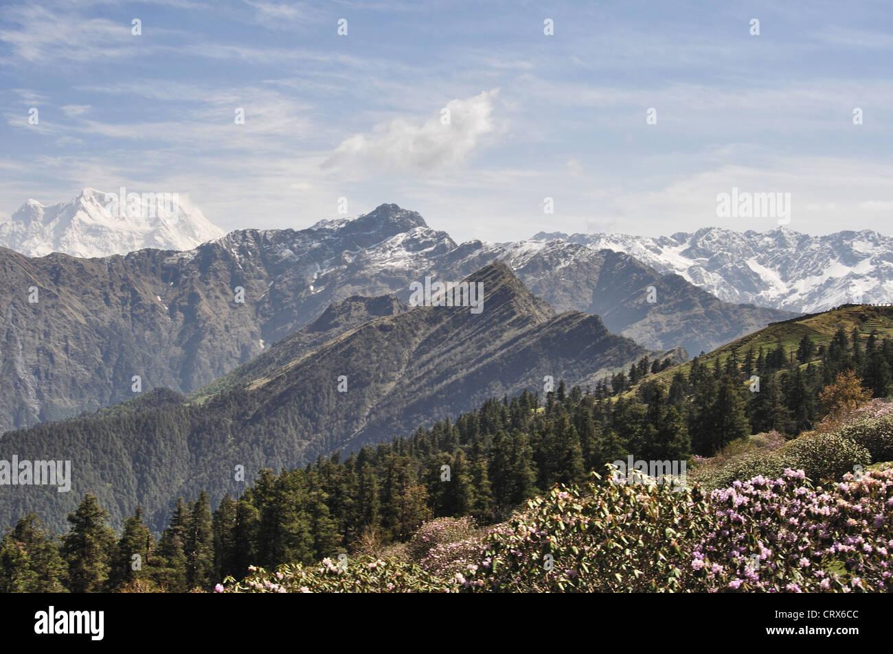 Vue paysage de varie de l'Himalaya au Népal Photo Stock