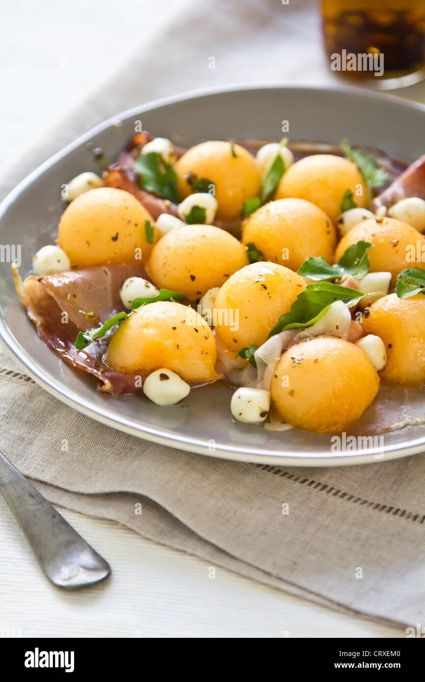 Cantaloup et Prosciutto Mozzarella,Antipasti Banque D'Images