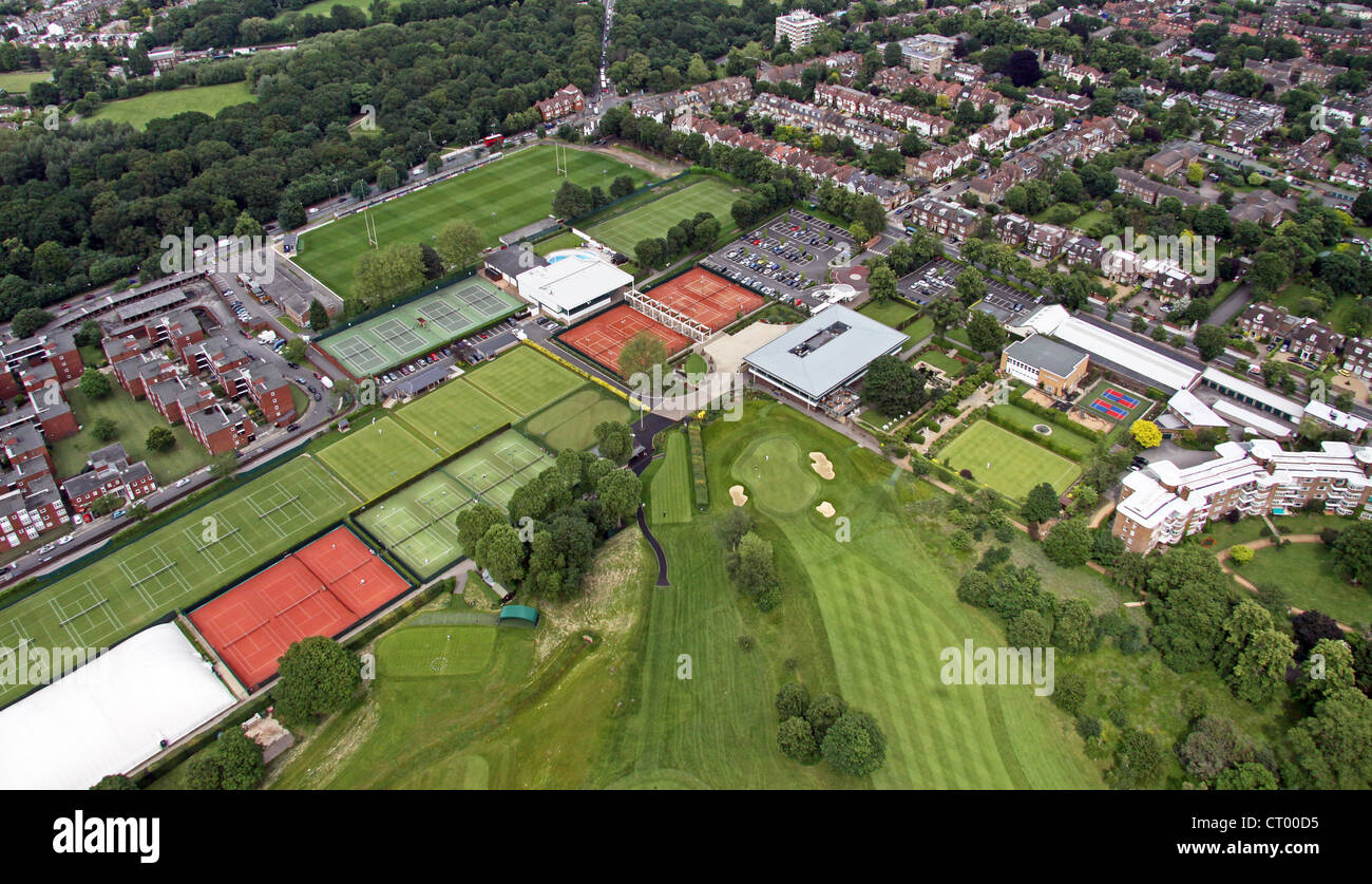 Vue aérienne de Roehampton, club de sport, Londres SW15 Photo Stock