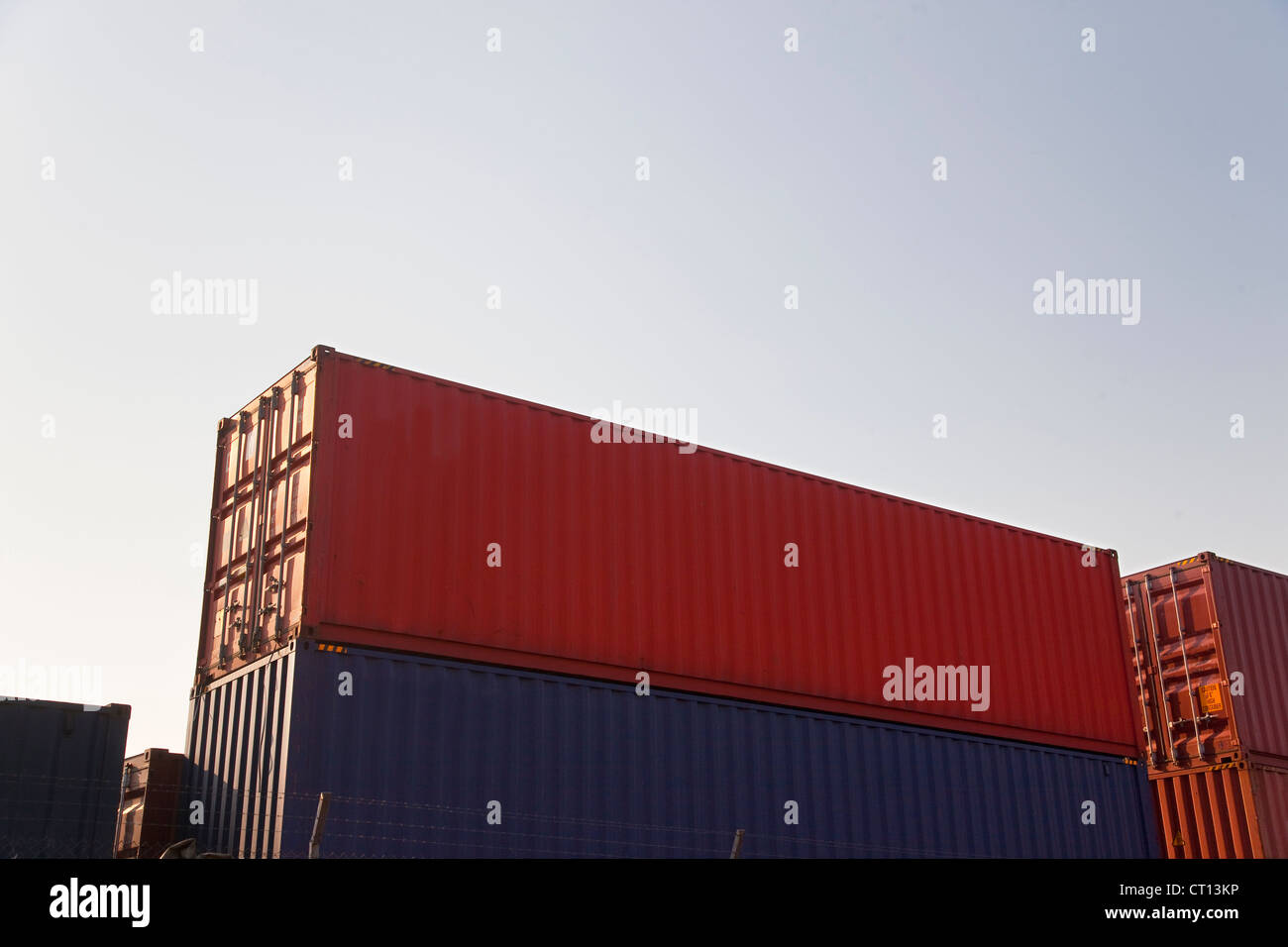 Low angle view of stacked containers Photo Stock