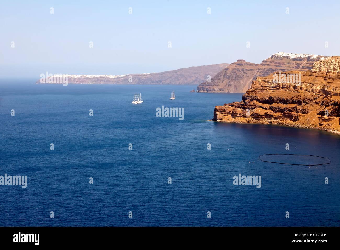 Panorama, Caldera, Santorin, Grèce Photo Stock