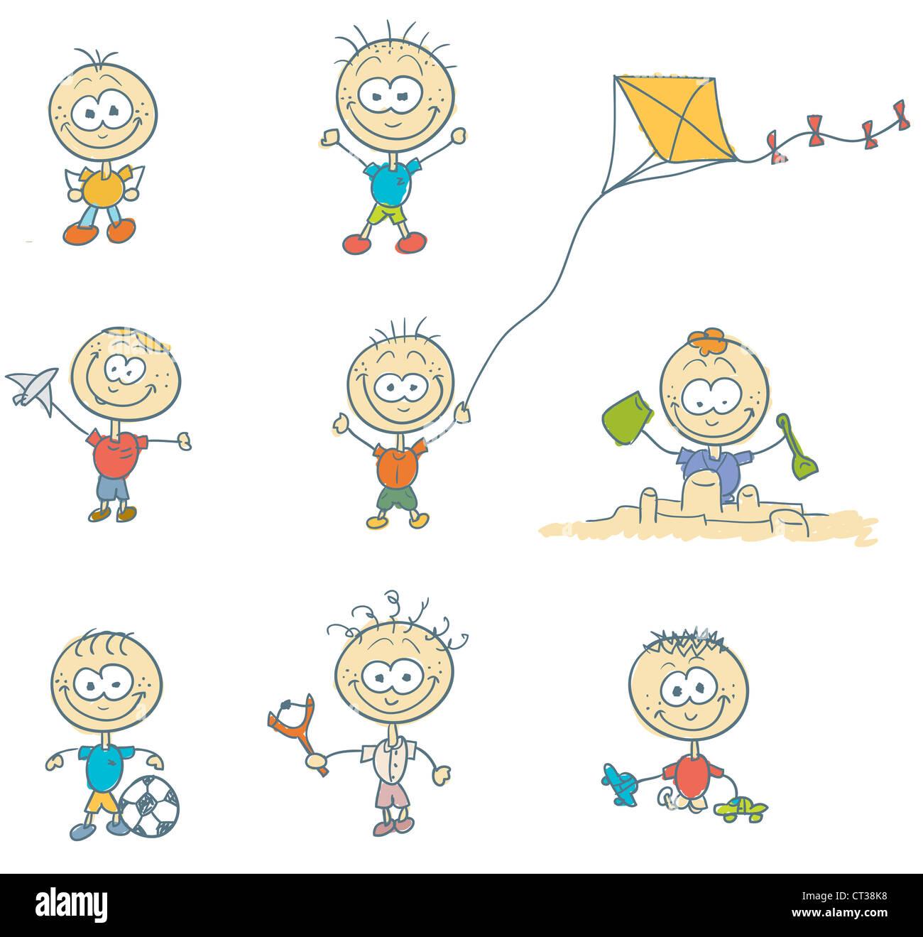 Un groupe d 39 enfants jouer dehors dans un autre jeu dessin d 39 enfants les enfants de kite - Dessin groupe d enfants ...