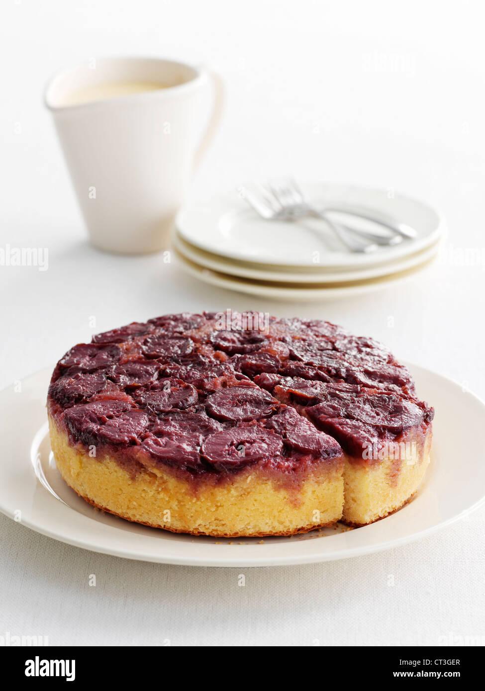 L'envers de la plaque d'un gâteau aux fruits Photo Stock