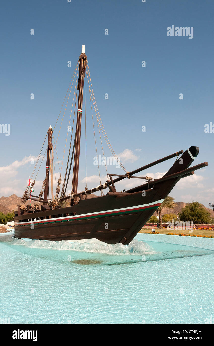 Elk207-1633v Oman, Muscat, Al Bustan rond-point, Sohar dhow fontaine Photo Stock