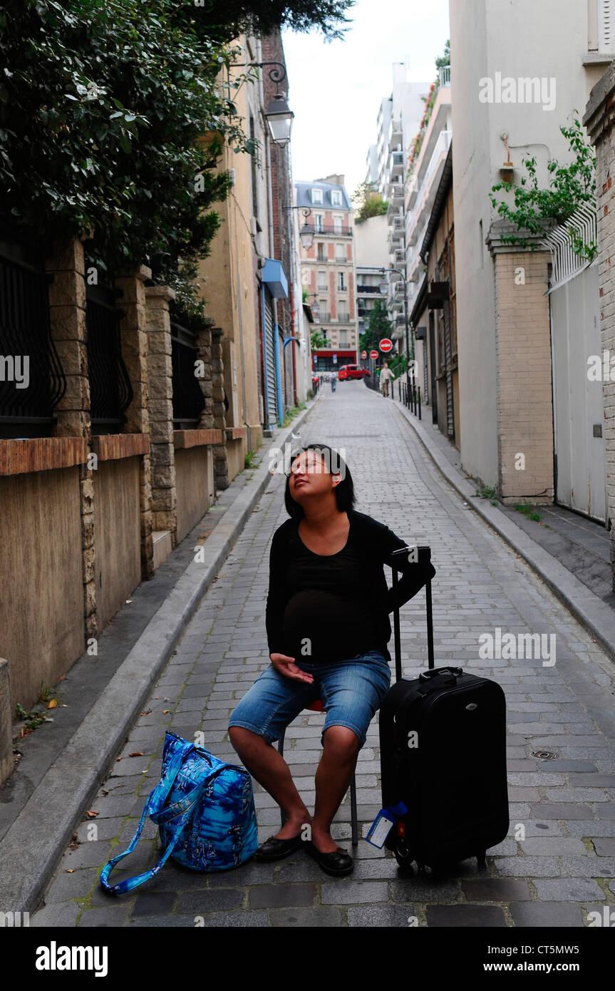 Le DÉPART POUR LA MATERNITÉ Photo Stock