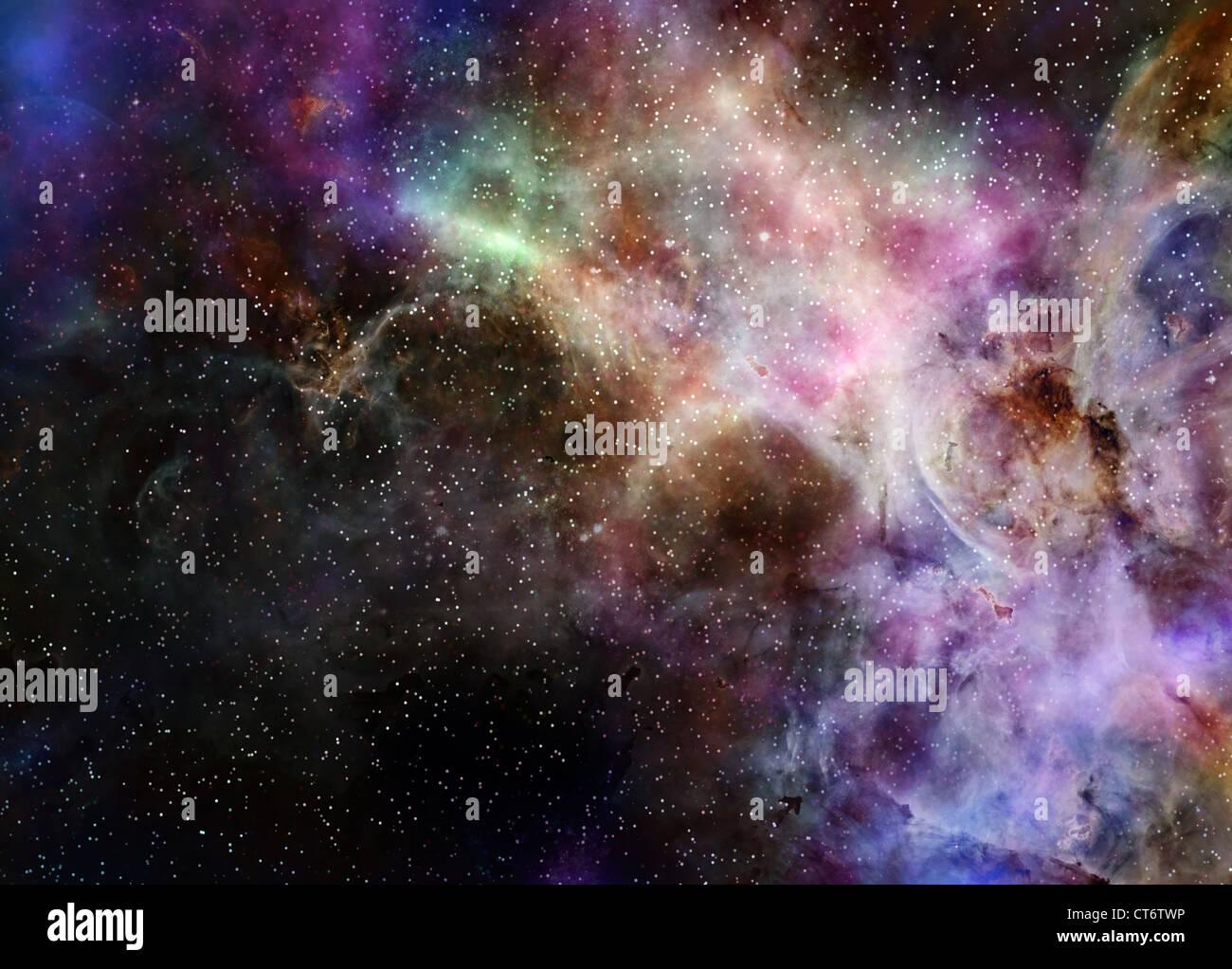 L'espace profond galaxie nébuleuse nuage de gaz et d'étoiles Photo Stock