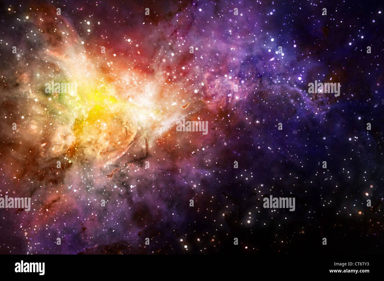 Fond étoilé d'étoiles et des nébuleuses dans l'espace profond Banque D'Images