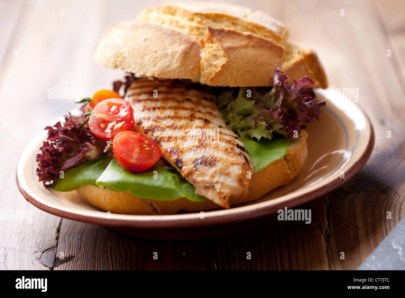 Sandwich au poulet gourmet Photo Stock