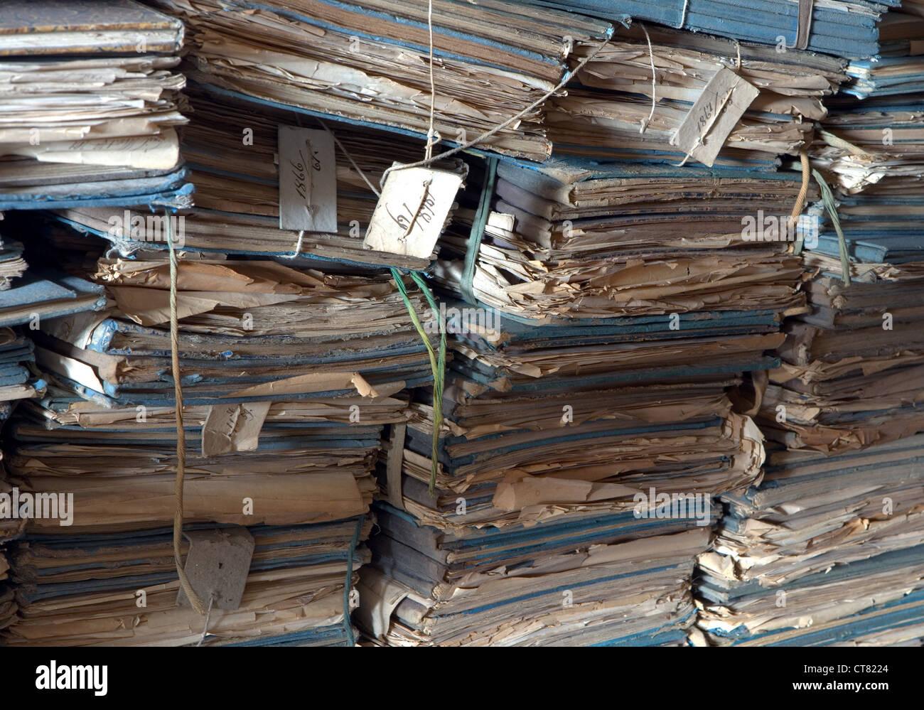 Les anciens fichiers d'archive Photo Stock