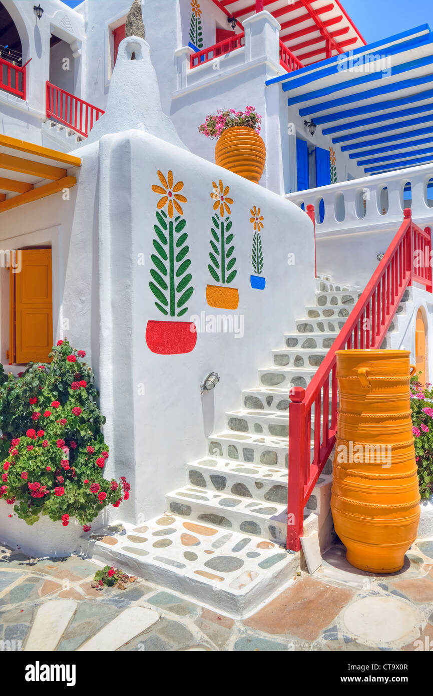 Architecture colorée de Mykonos, Grèce Photo Stock