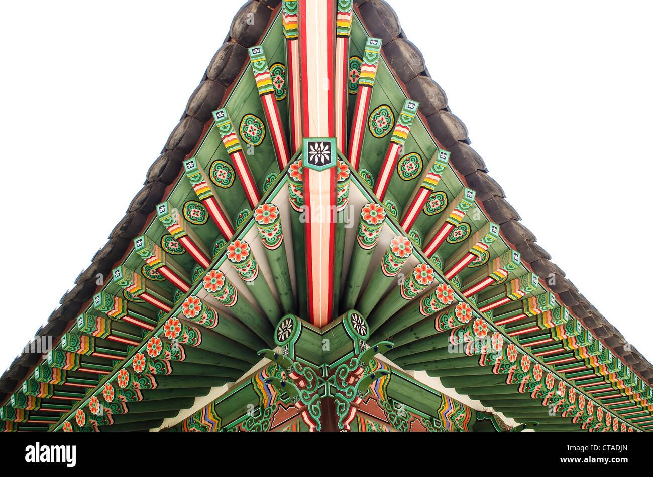 Détail de bois peint palace seoul Corée du Sud Photo Stock