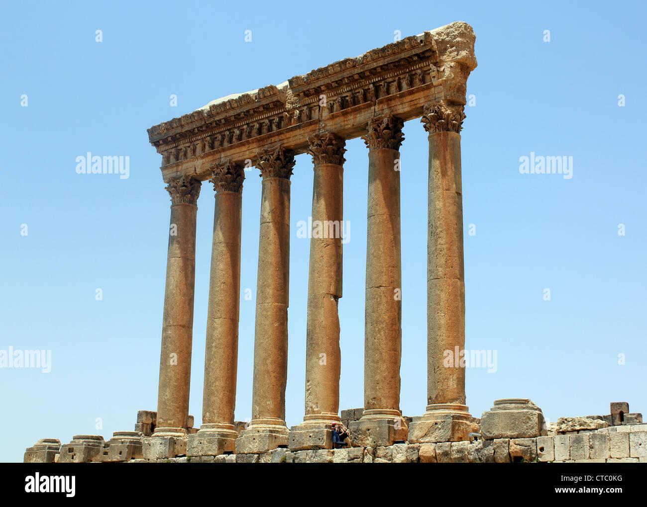 Ruines Romaines de Baalbek, au Liban Photo Stock