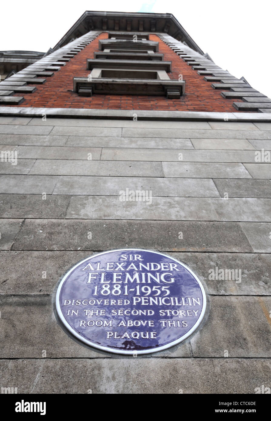 Plaque commémorative de Sir Alexander Fleming, Paddington, Londres, Angleterre, Royaume-Uni Photo Stock