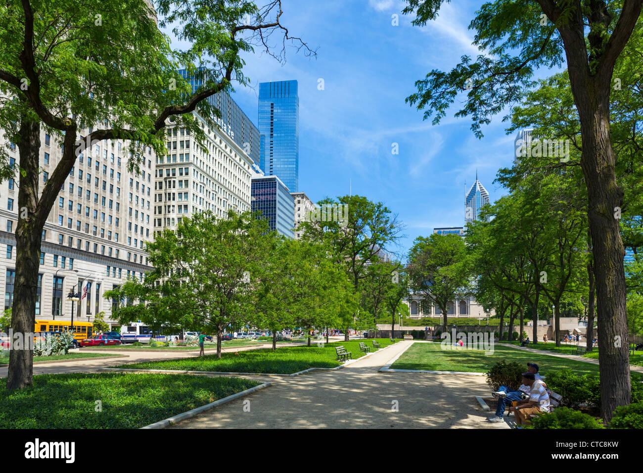 Michigan Avenue, près de l'intersection avec Van Buren Street, Chicago, Illinois, USA Photo Stock