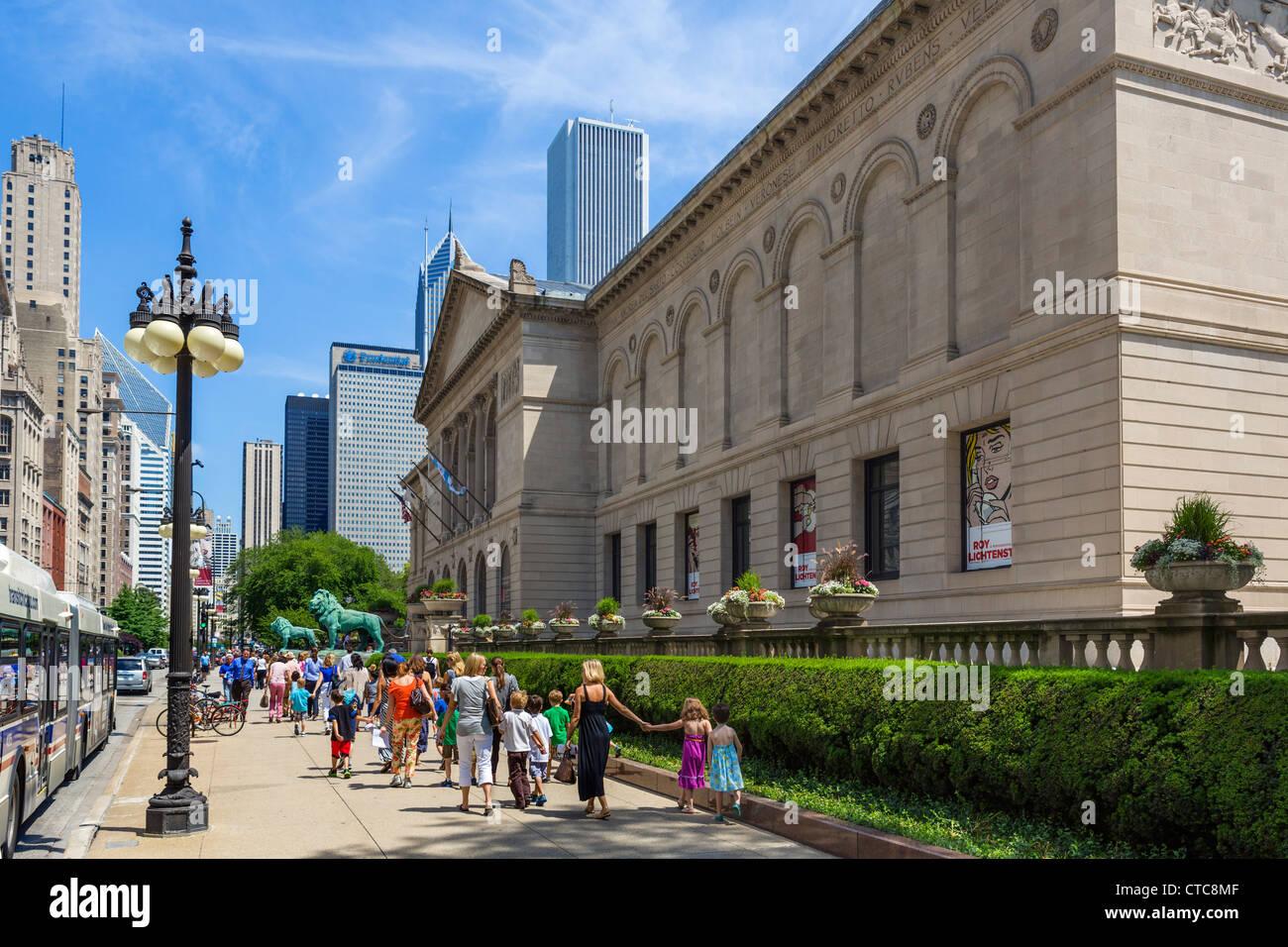 L'Art Institute de Chicago sur Michigan Avenue, Chicago, Illinois, États-Unis Photo Stock