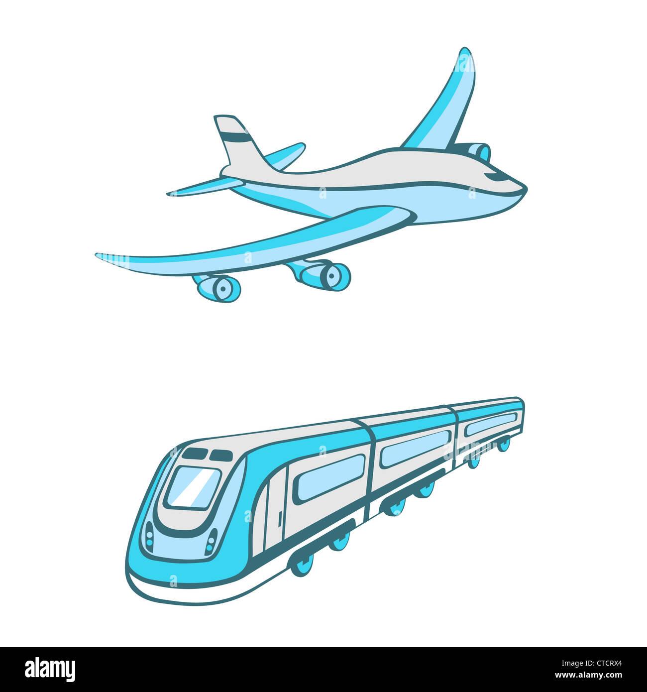 Illustration Vecteur de modes de transport. Cute transportation icons Photo Stock