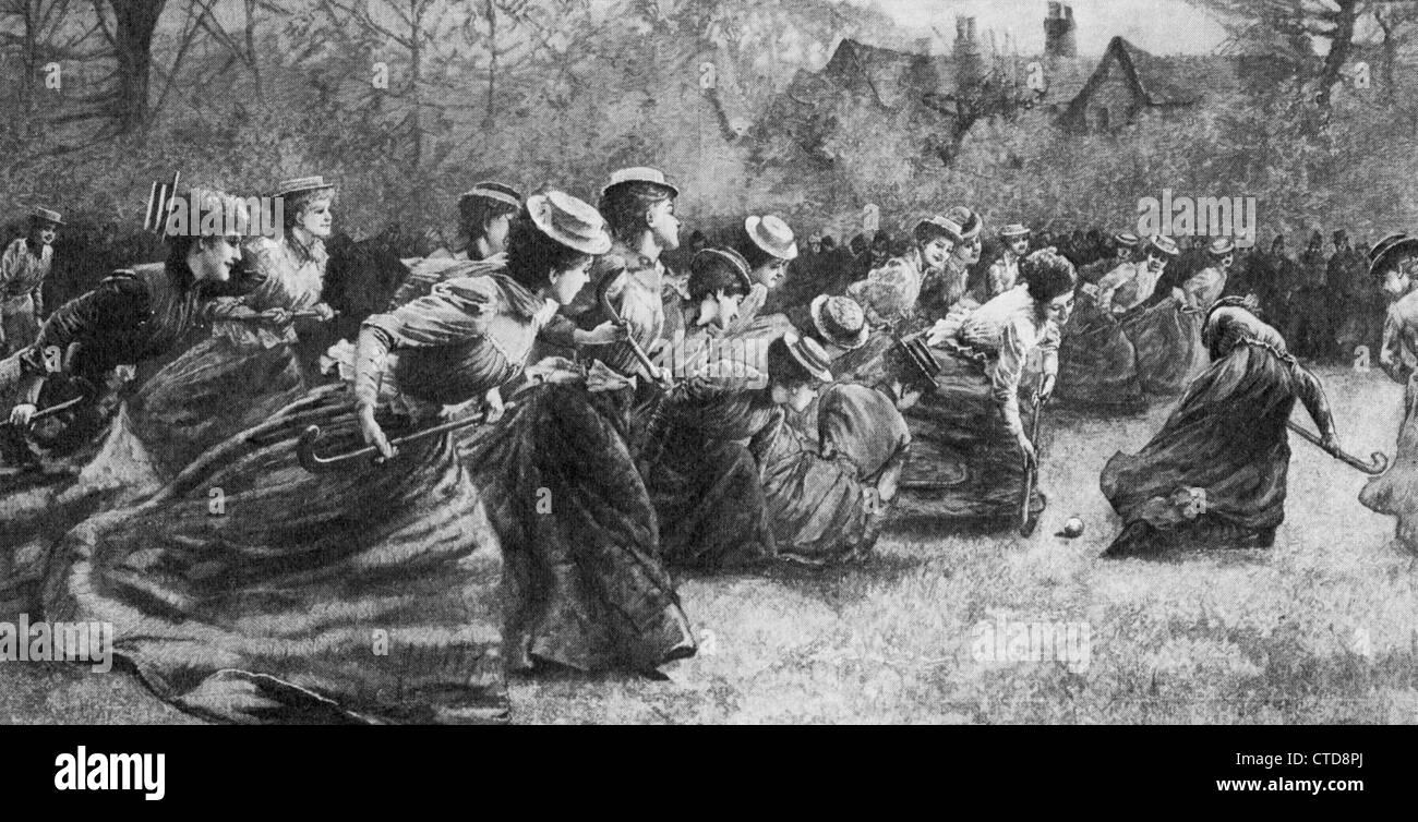 Le hockey féminin à la fin du 19e siècle Photo Stock
