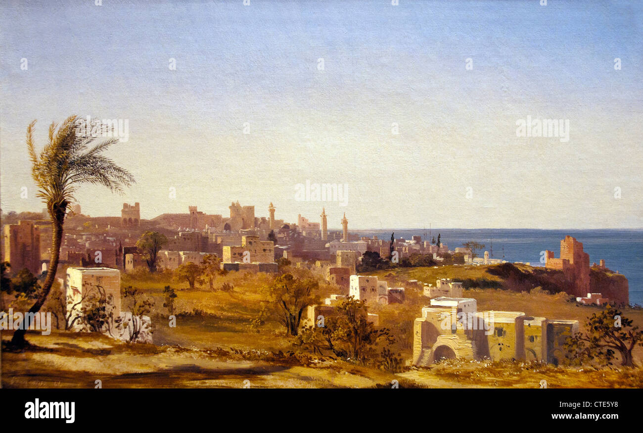 Vue de Beyrouth 1844 par Jules Coignet 1798-1860 France Français Photo Stock