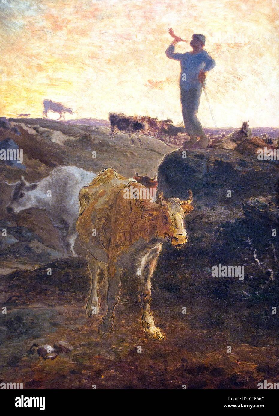 Appelant les vaches Accueil 1872 par Jean-François Millet 1814-1875 France Français Photo Stock