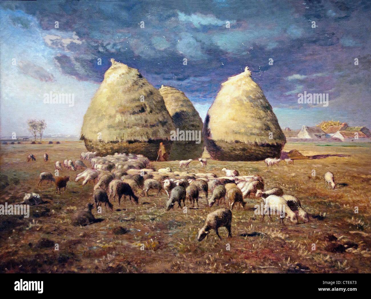 Meules de l'automne 1874 par Jean-François Millet 1814-1875 France Français Photo Stock