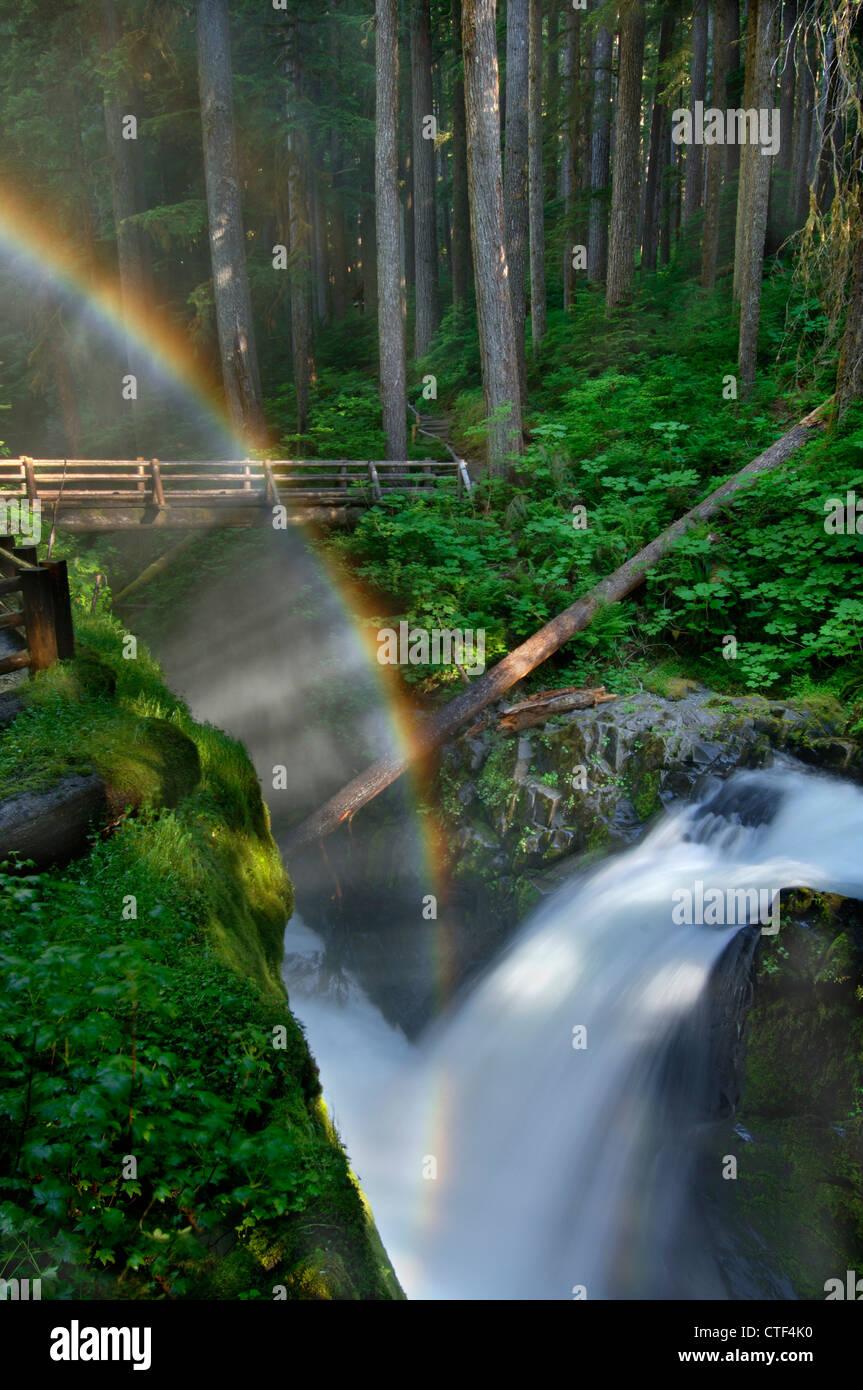 Arc-en-ciel sur Sol Duc Falls, Olympic National Park, Washington, USA Photo Stock