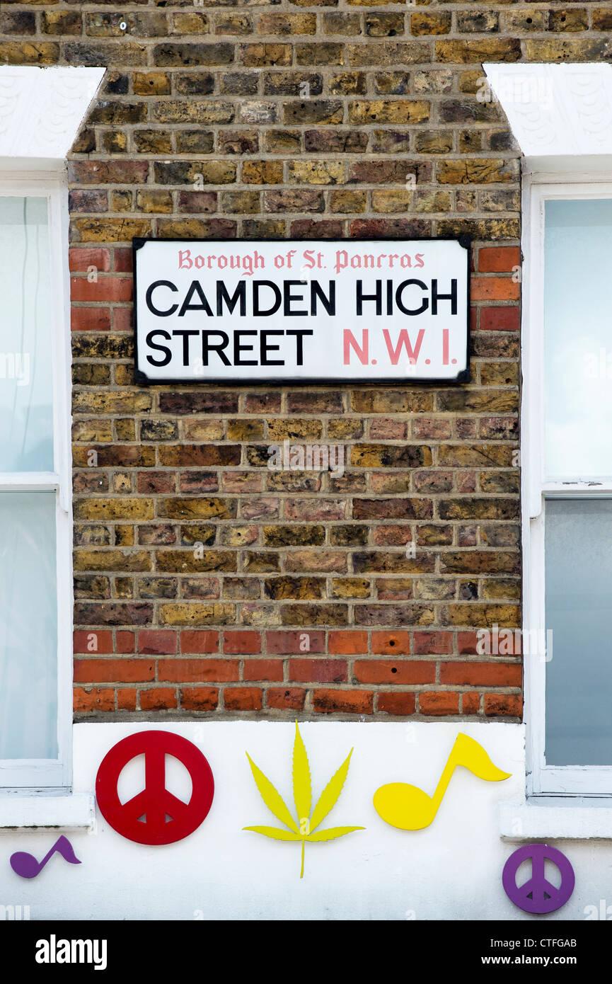 Camden High Street sign. Londres Photo Stock