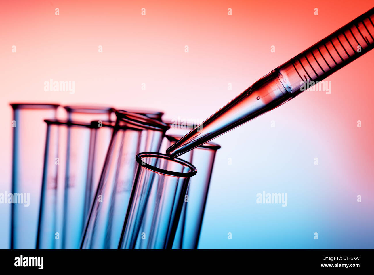Pipette and test tube chemistry lab Photo Stock