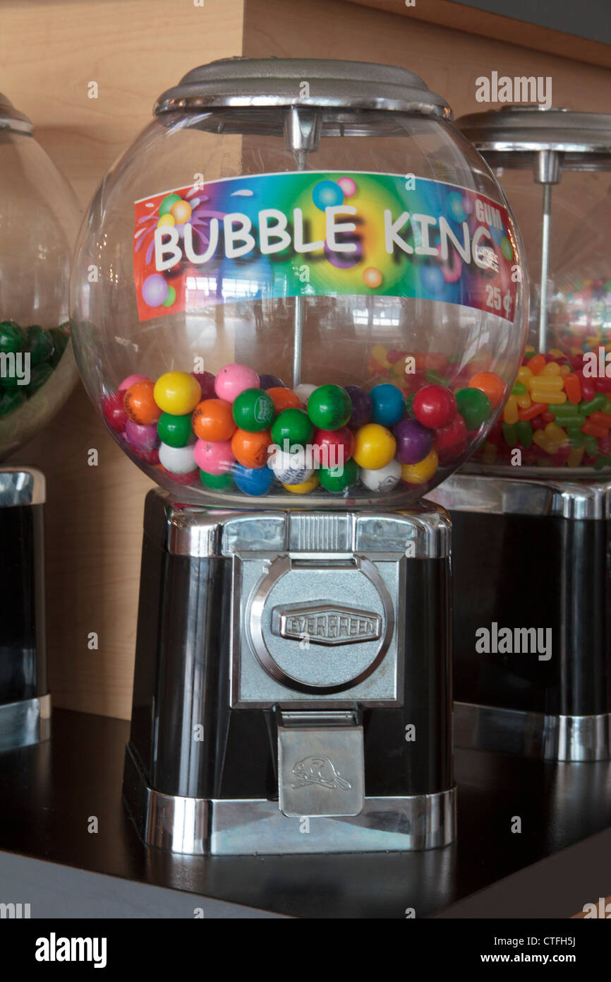 Bubble King public gumball machine à pièces Photo Stock