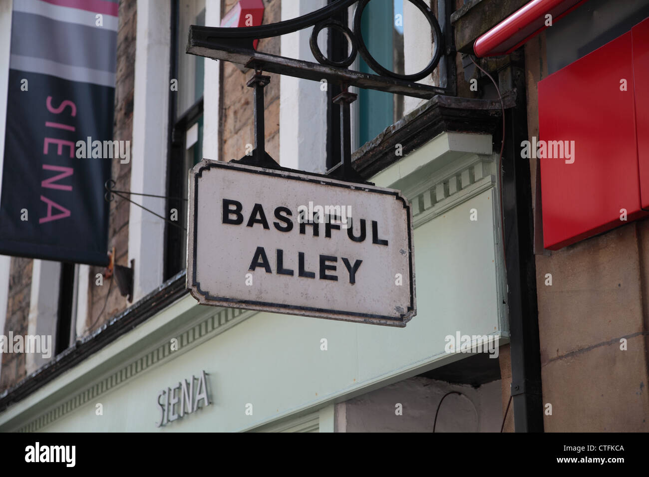 Panneau 'Bashful Alley' on city street Photo Stock