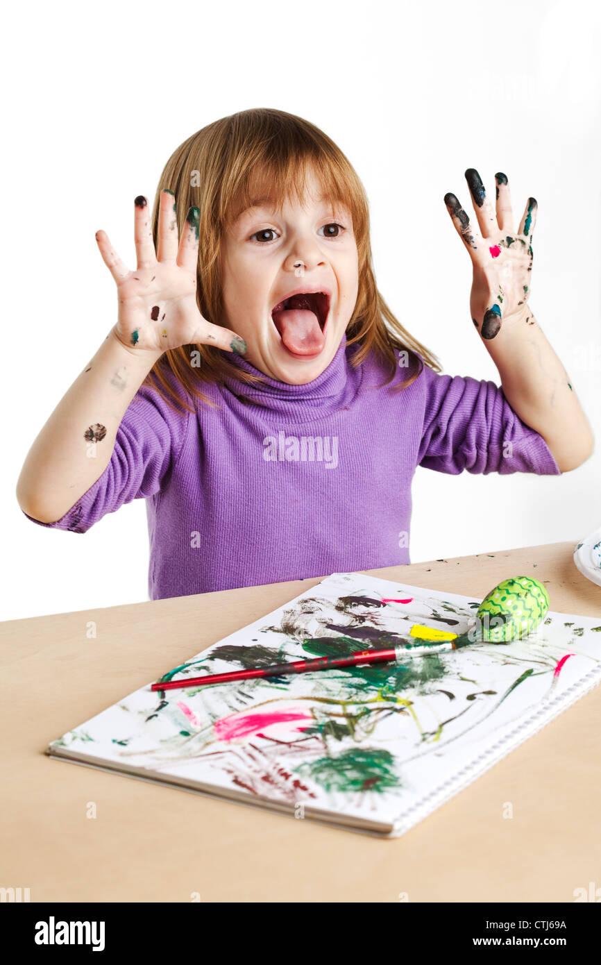 enfant peinture Photo Stock