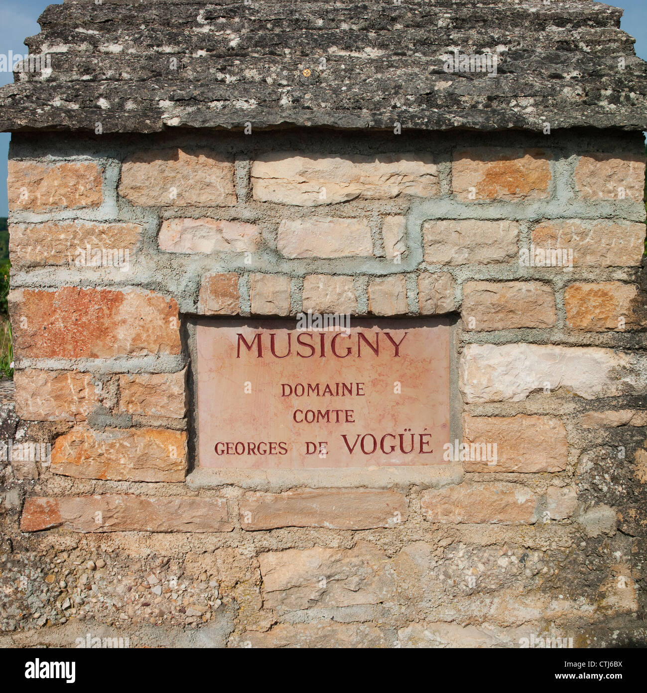 Domaine Comte Georges de Vogue Musigny Grand Cru vineyard wall stone signe au-dessus de Chateu Clos de Vougeot en Photo Stock
