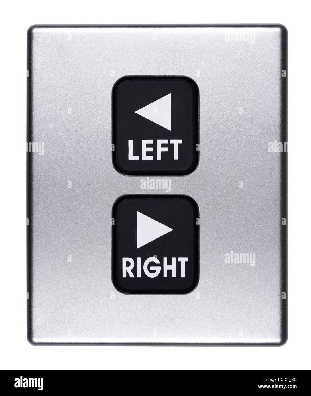 Les boutons gauche et droite Photo Stock