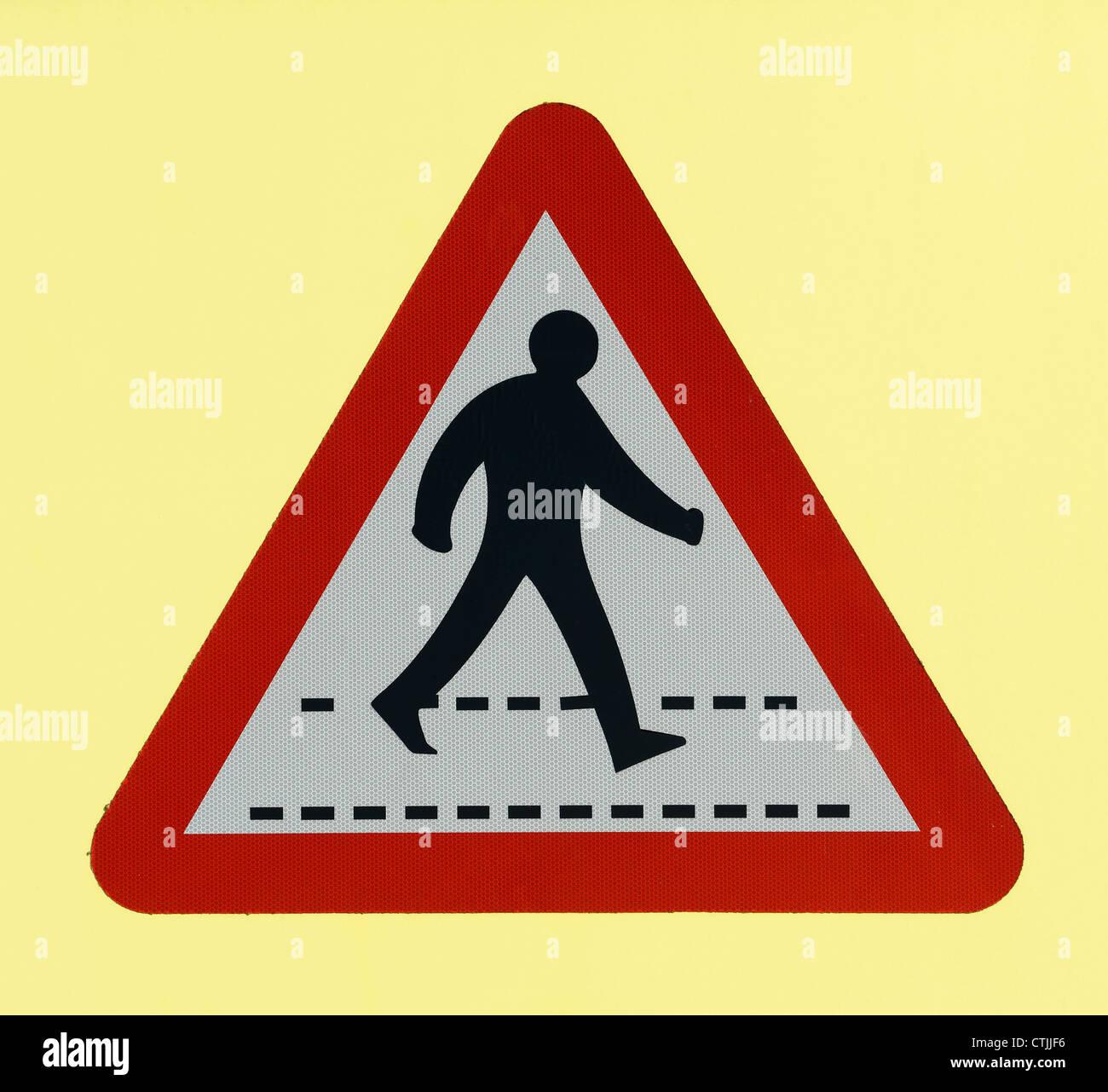 Passage pour piétons road sign Photo Stock