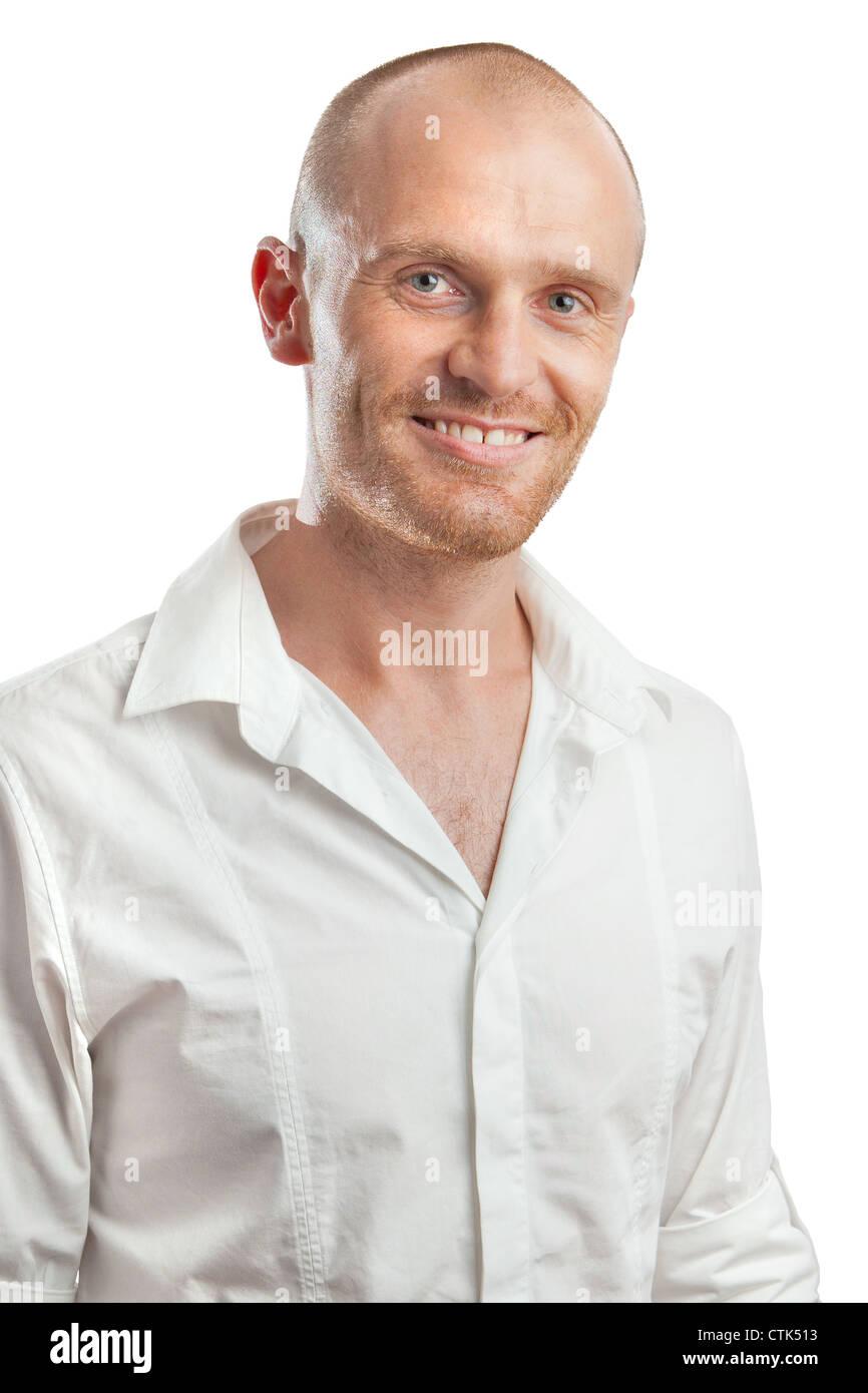 Studio portrait headshot chemise blanche décontractée d'âge moyen en studio professionnel contre Photo Stock