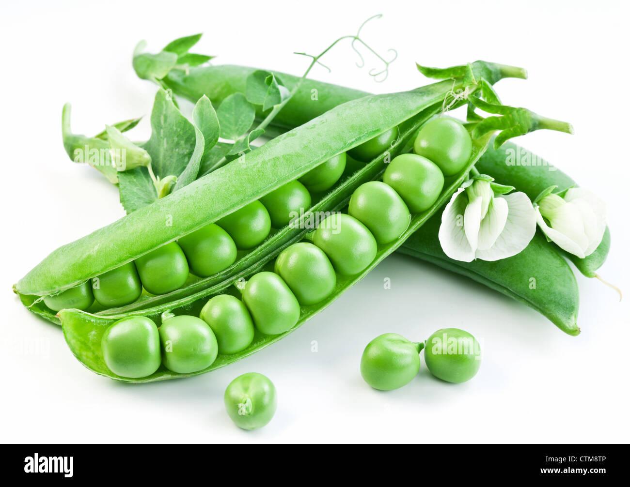 Gousses de pois verts avec des feuilles sur fond blanc. Banque D'Images