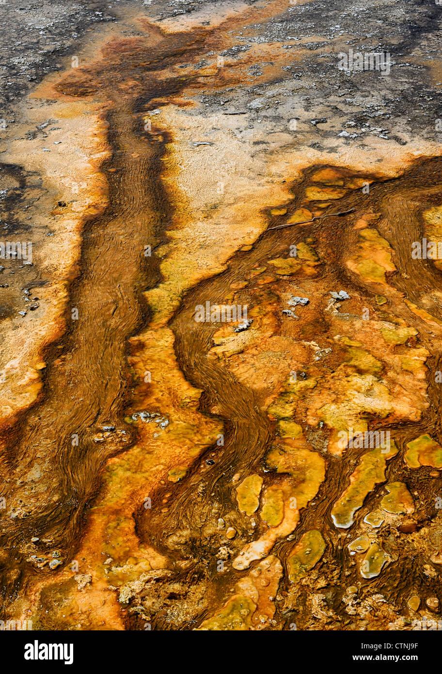 Résumé Les modèles de boue dans la région de geyser Basin, Parc National de Yellowstone, Wyoming, USA Banque D'Images