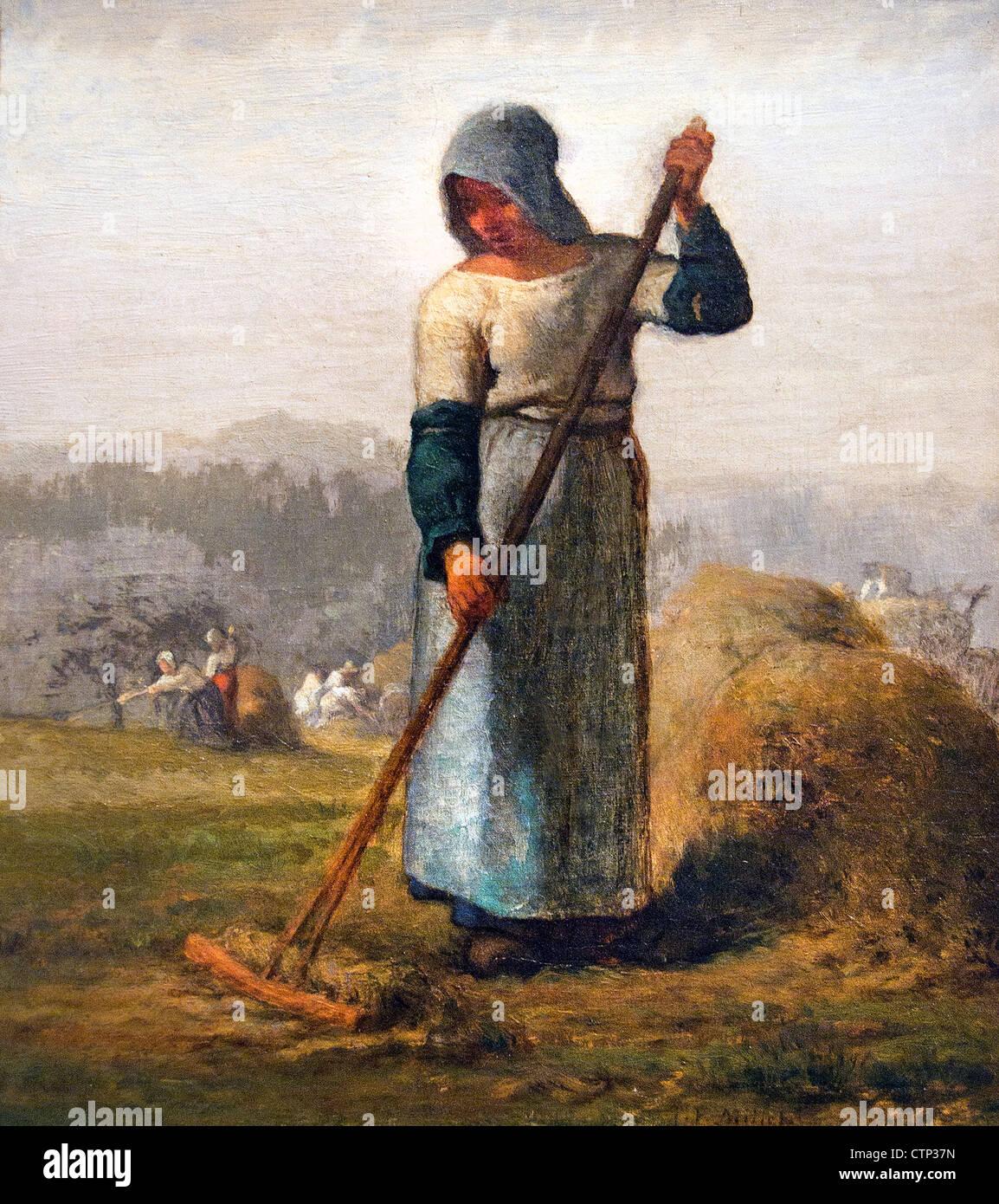 Femme avec un râteau 1856 Jean Francois Millet France French Photo Stock