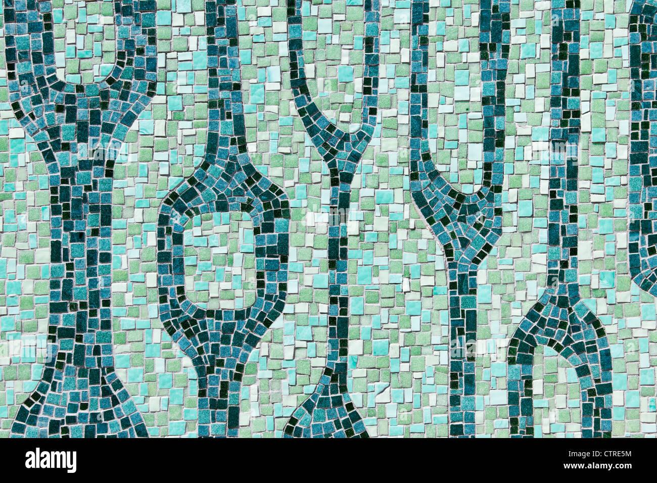Mosaïque sur Miami River Walk, le centre-ville de Miami, Floride, USA Photo Stock