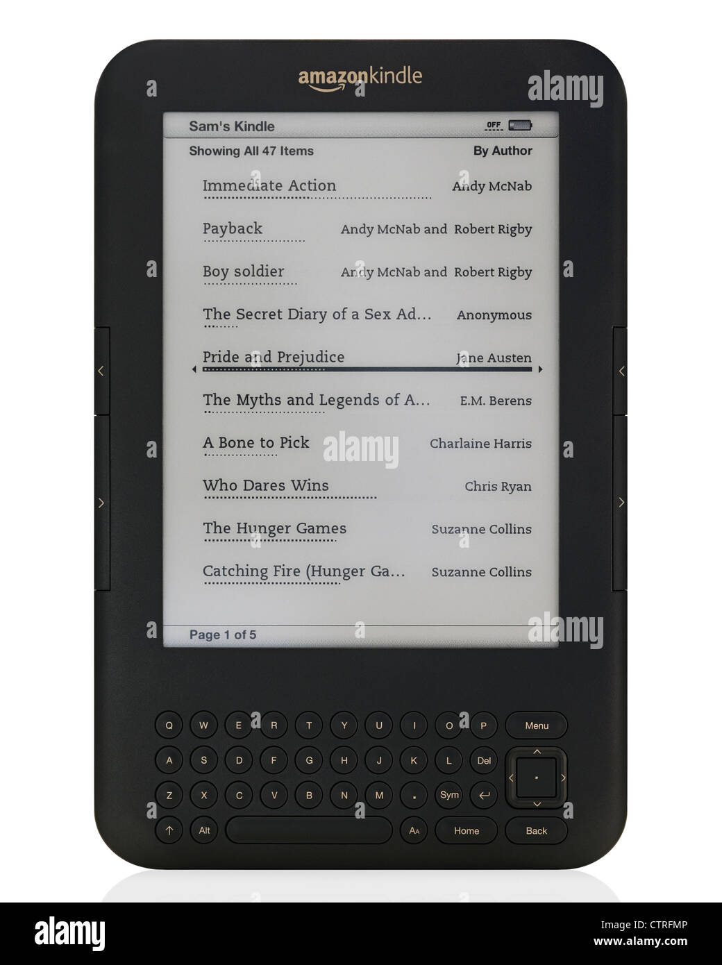 Dispositif de lecture eReader Amazon Kindle Photo Stock