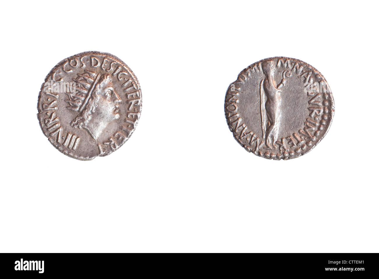 Marc Antoine de BCE 38 3.8 gr d'argent. Droit Antony comme prêtre. Photo Stock