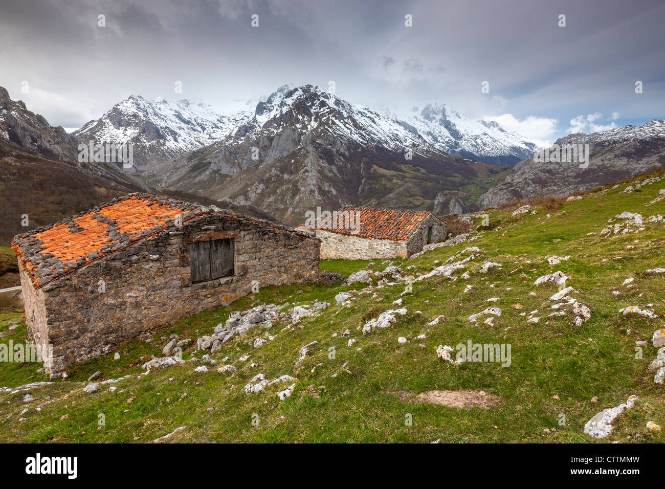 Invernales de La Caballa plus Sotres, Picos de Europa, l'asturien municipalité de Cabrales, Espagne Photo Stock