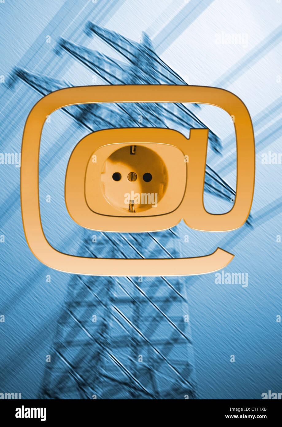 - Internet Powerline aus der Stecldose Photo Stock