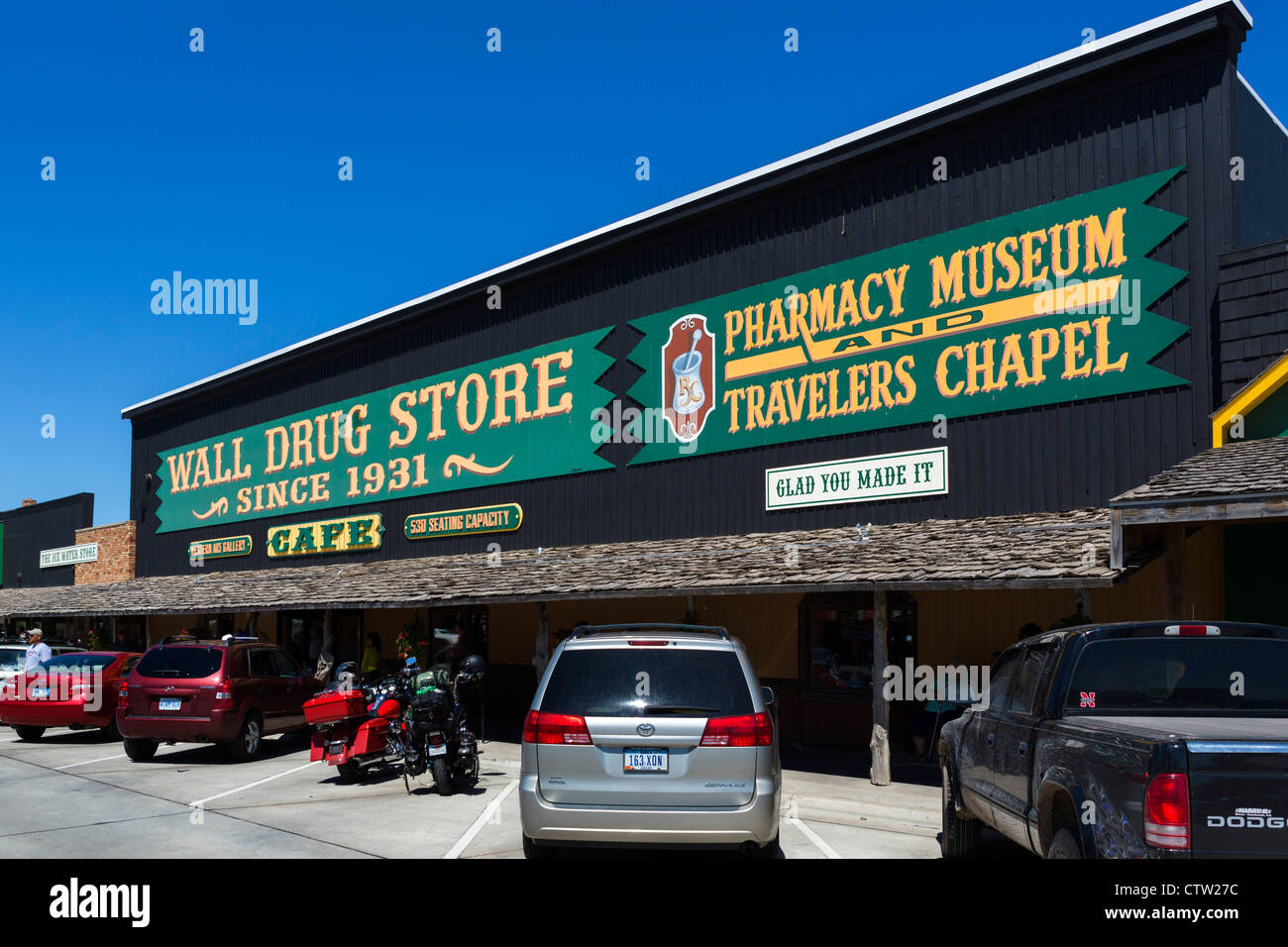 Le célèbre Wall Drug Store au mur, South Dakota, USA Photo Stock