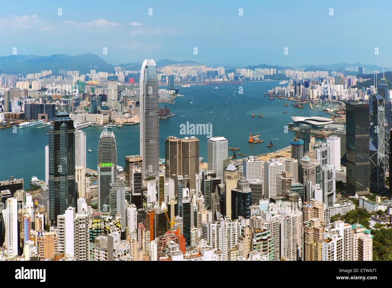 Le port de Hong Kong à la lumière du jour Photo Stock