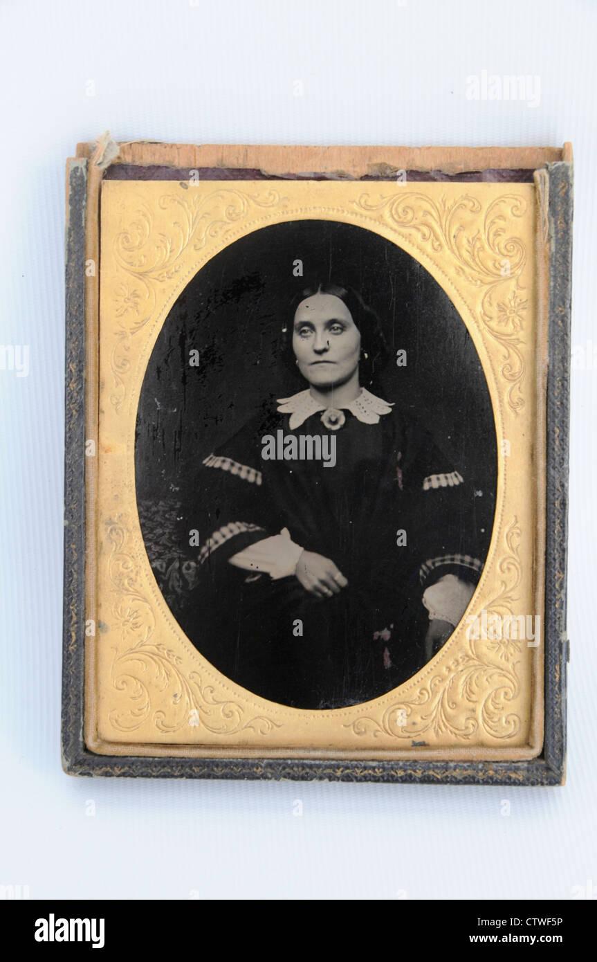 Un portrait photographique de collodion antique d'une madame Leticia Hayden 1860' Photo Stock