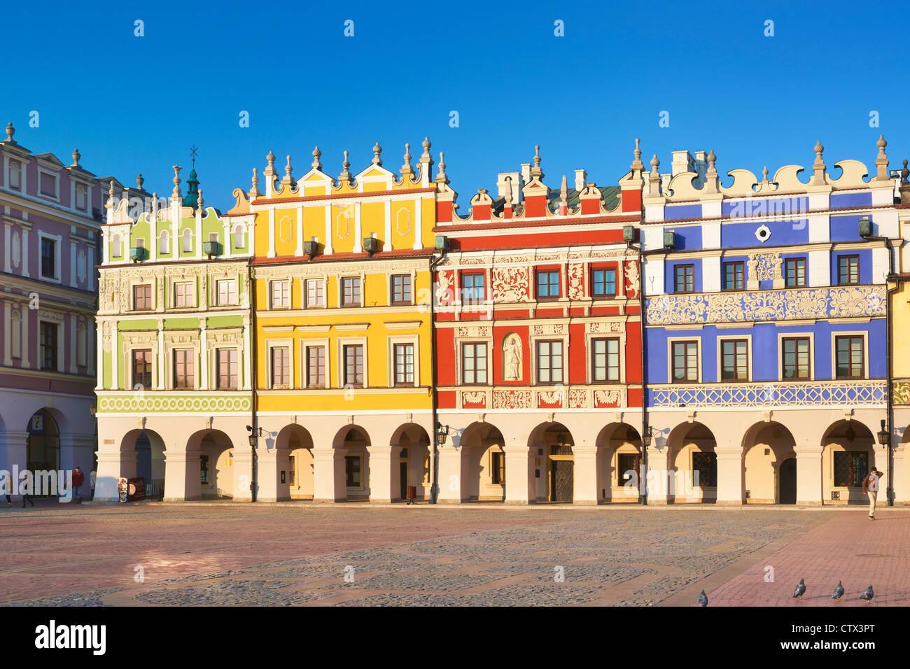Zamosc, les maisons historiques sur le vieux marché, l'Unesco, la Pologne, l'Europe Photo Stock