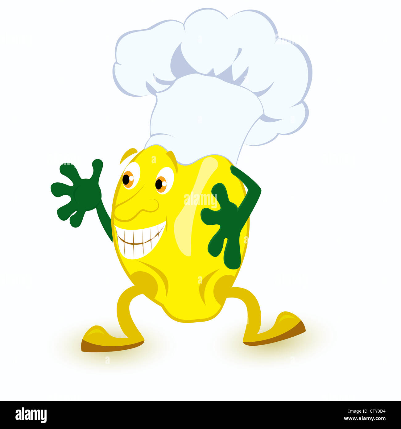 Personnage de citron en chef hat vector illustration Photo Stock