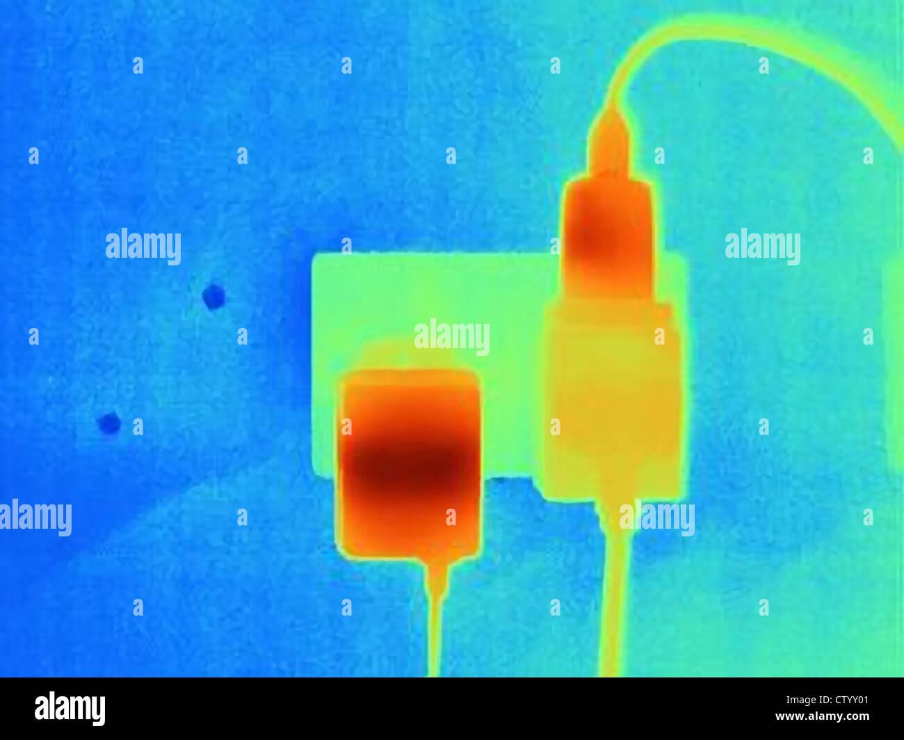 Image thermique de fiches et prises de courant Photo Stock